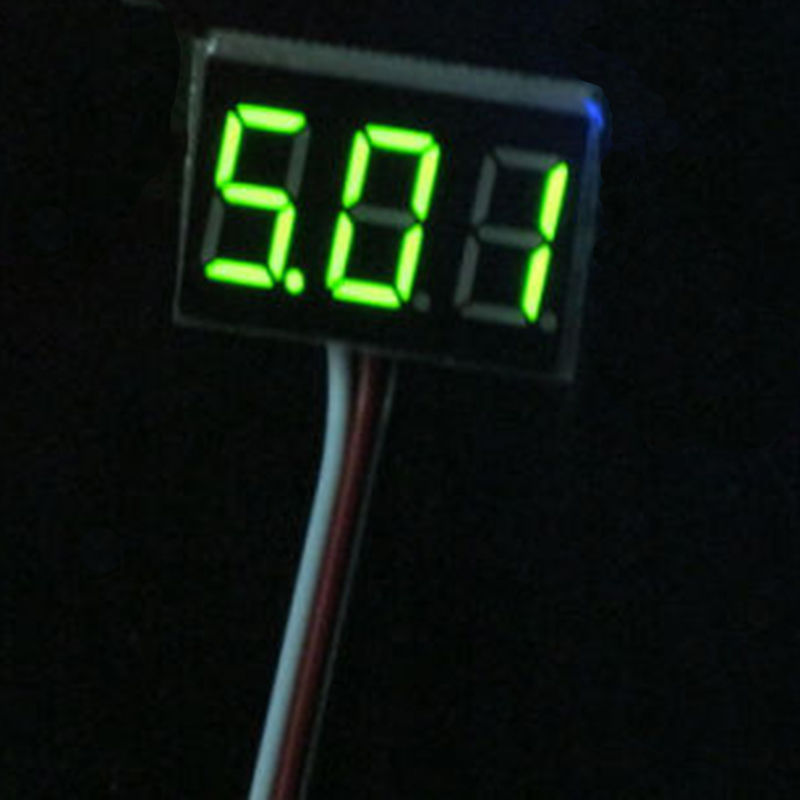 3-Wire Mini DC 0-100V LED Panel Voltage Meter Green